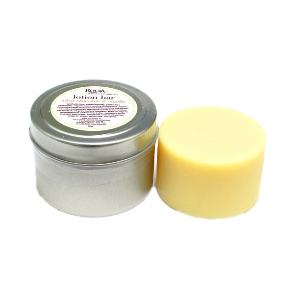 white chocolate & vanilla vegan lotion bar by rocia naturals