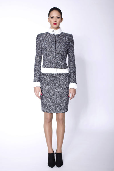 L'Affaire grey costume with white faux leather details