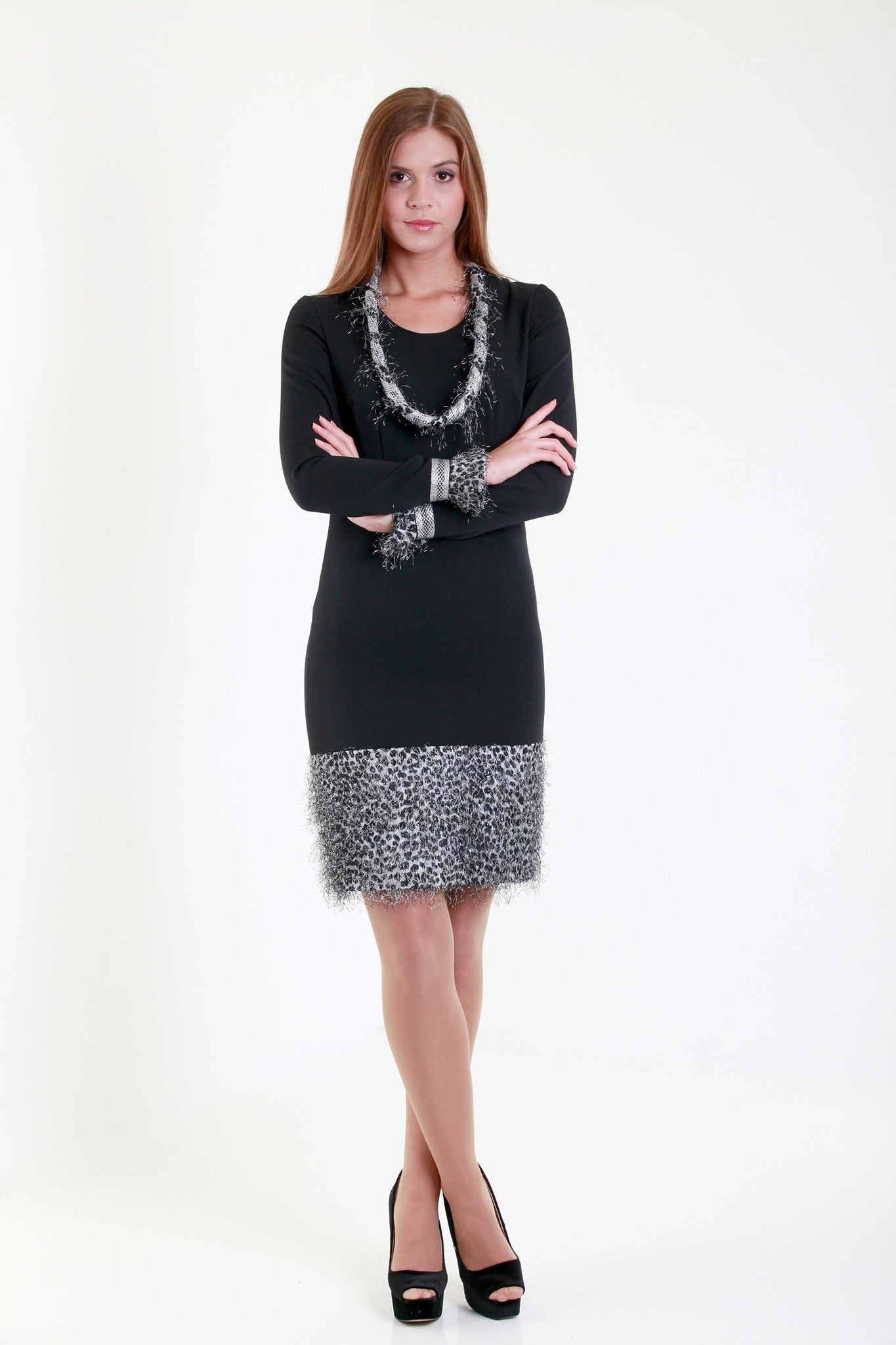 Allegretto black dress with fur