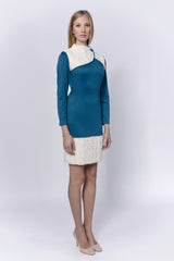 Allegretto turquoise cotton dress with white fur