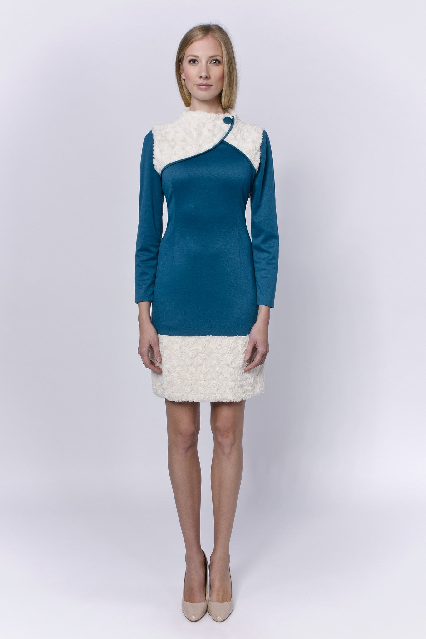 Allegretto-turquoise-cotton-dress-with-white-fur-Laccafashion-Allegretto