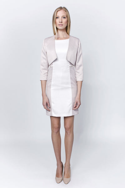 Allegretto white-mauve buckled dress with bolero