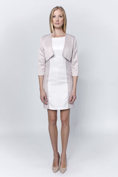 Allegretto white-mauve dress with bolero