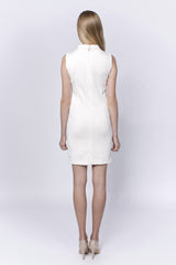 Allegretto sleeveless cream cotton dress