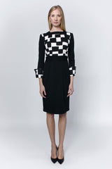 Cotton-dress-with-check-patterns-Laccafashion