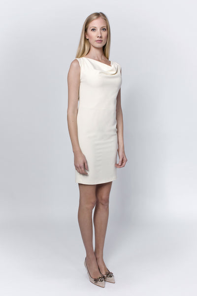 Cream dropped dress with roman neckline