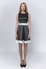 Dotted-dress-with-satin-embellishments-Laccafashion