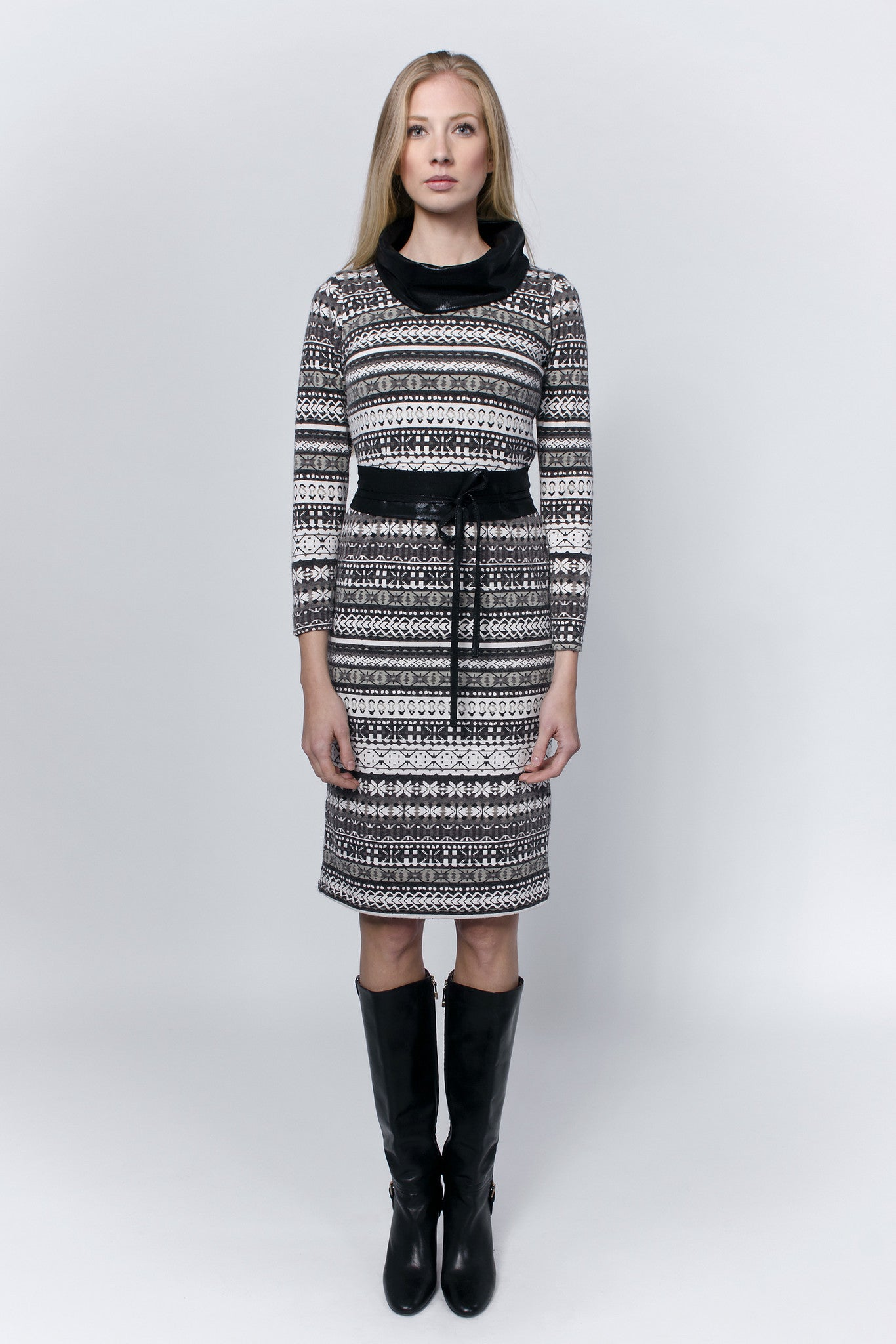 Dress-with-grey-patterns,-black-cowl-collar-and-waist-belt-Laccafashion