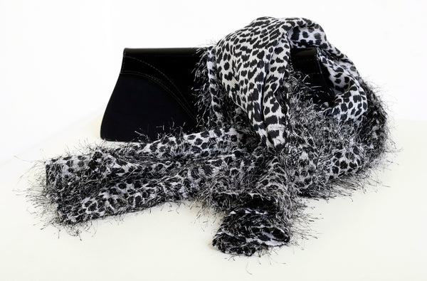 Grey-black furry scarf /narrow/