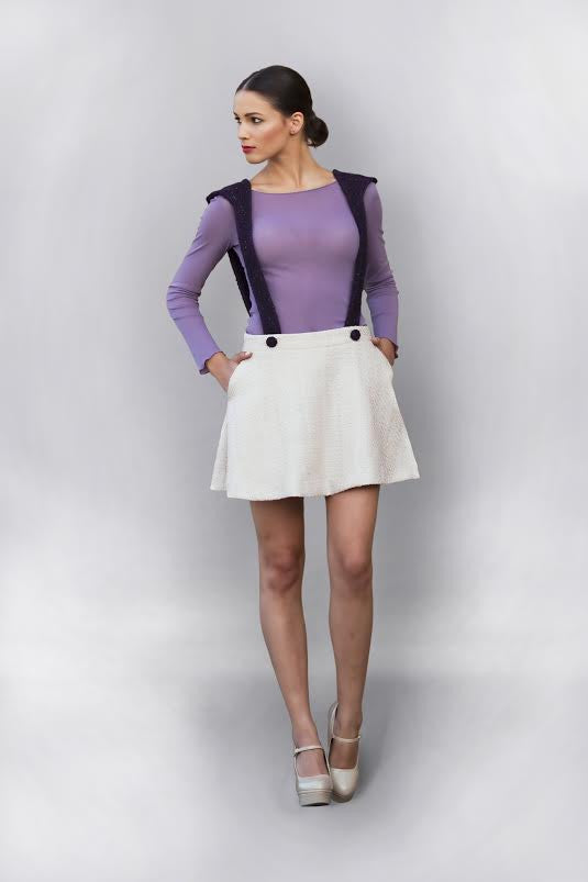 Linea-L light pink round skirt with violet halters
