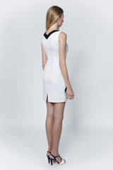 Linea-L sleeveless white dress embellished with black stripe and buttons