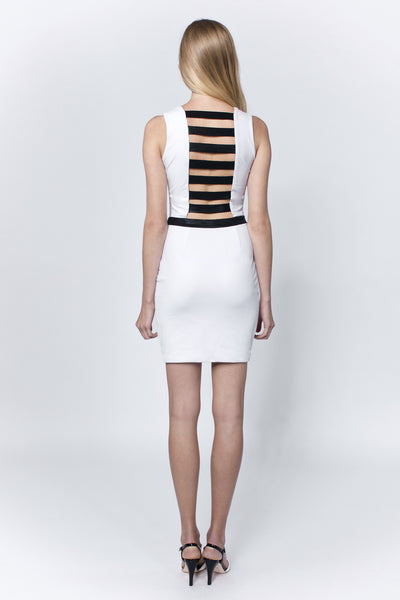 Linea-L white dress with black stripe at the back and front