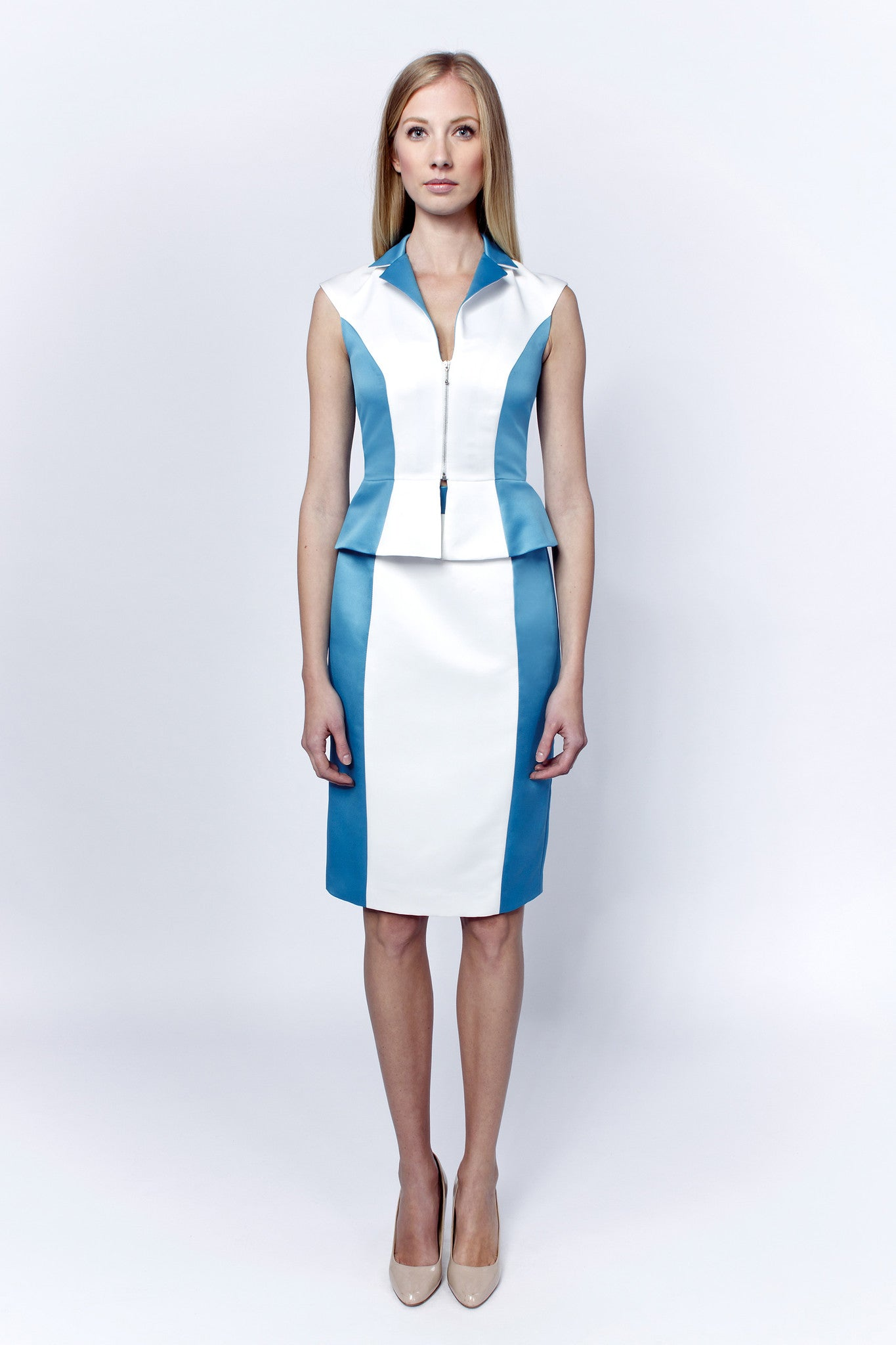 Linea-L white-turquoise suit dress