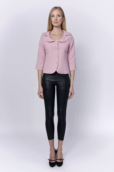 Mauve blazer with rounded neckline