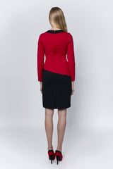 Red-black dress with special neckline