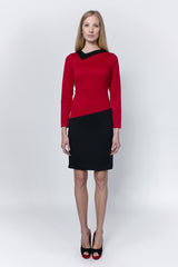 Red-black-dress-with-special-neckline-Laccafashion