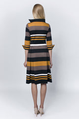 Striped pleated dress (mustard)