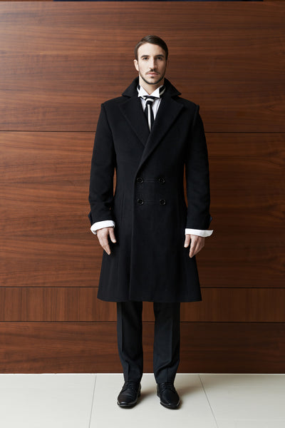 Tulipani Rossi black wool coat