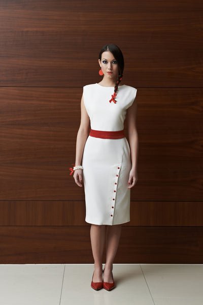 Tulipani Rossi off-white dress with red embellishment
