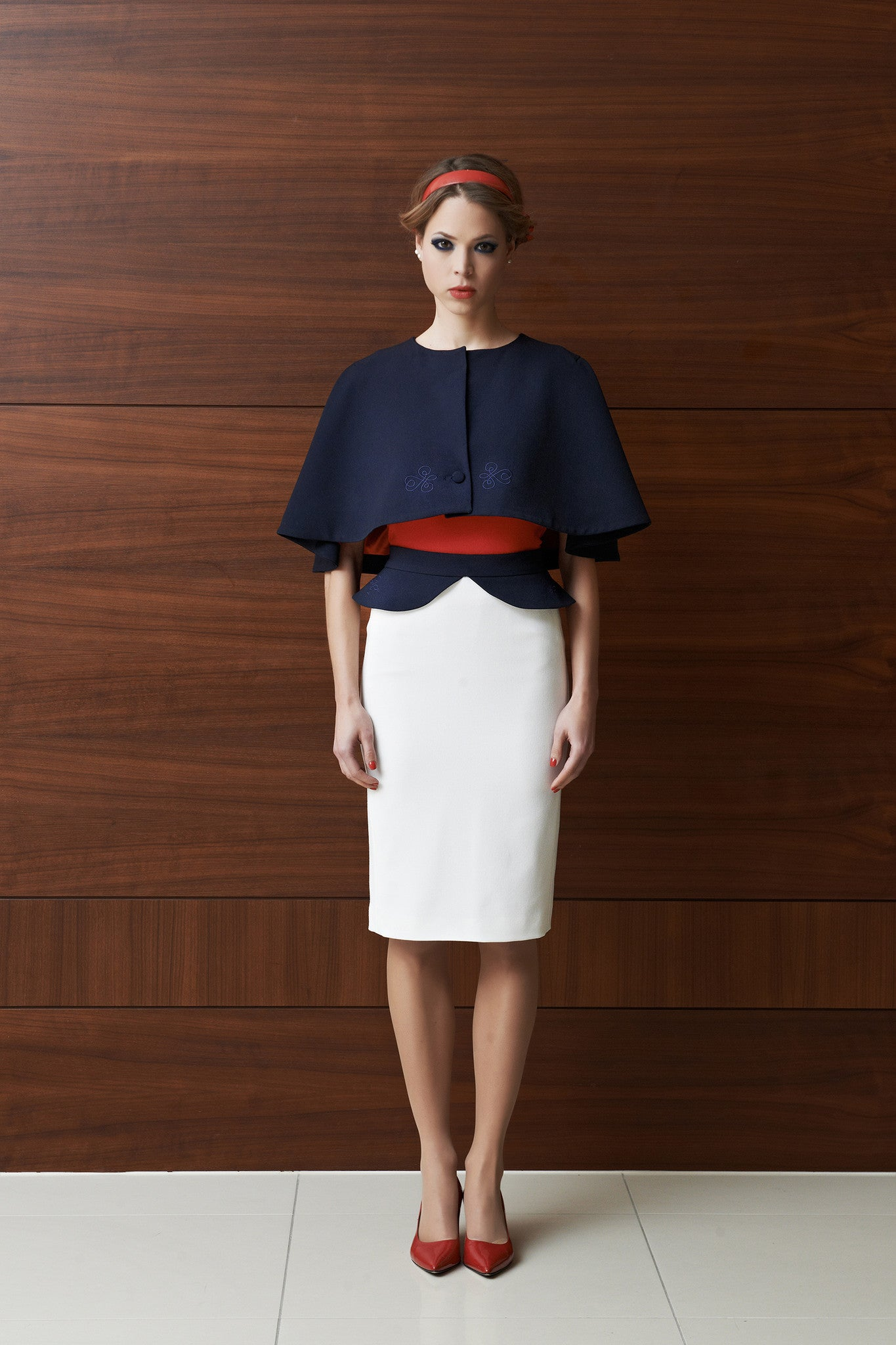 Tulipani Rossi off-white skirt with dark blue peplum