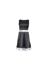 Dotted dress with satin embellishments