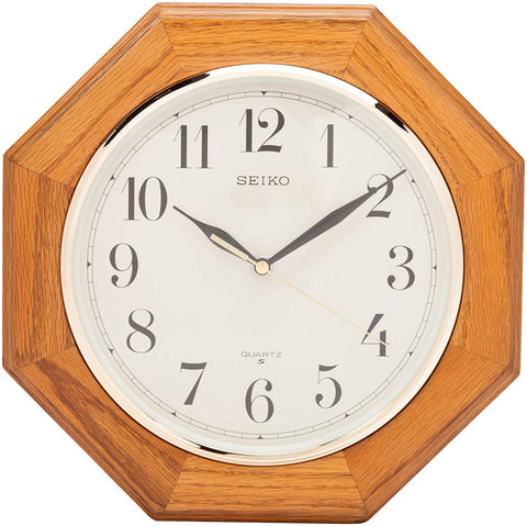 Seiko Wall Clock Medium Brown Solid Oak Case QXA102BC