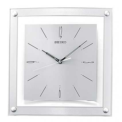 Seiko SQUARE SILVER AND GLASS WALL CLOCK QXA330SLH