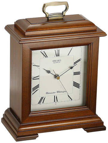Seiko Mantel Chime Carriage Clock Cherry Finish Solid Wood Case QXJ102BC