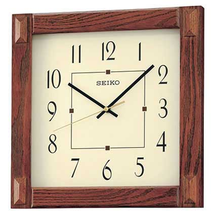 Seiko SQUARE MEDIUM BROWN WOOD WALL CLOCK QXA469BLH