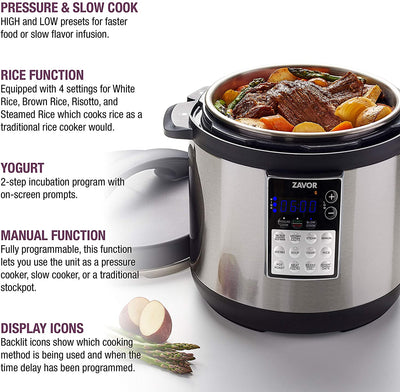 Zavor LUX Edge, 4 Quart Programmable Electric Multi-Cooker: Pressure Cooker, Slow Cooker, Rice Cooker, Yogurt Maker, Steamer and more - Stainless Steel (ZSELE01)