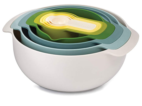 Joseph Joseph 40085 Nest 9 Nesting Bowls Set with Mixing Bowls Measuring Cups Sieve Colander, 9-Piece, Opal
