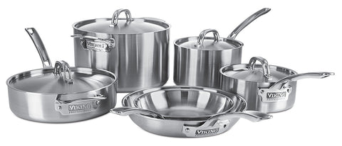 Viking Professional 5-Ply Stainless Steel Cookware Set, 10 Piece
