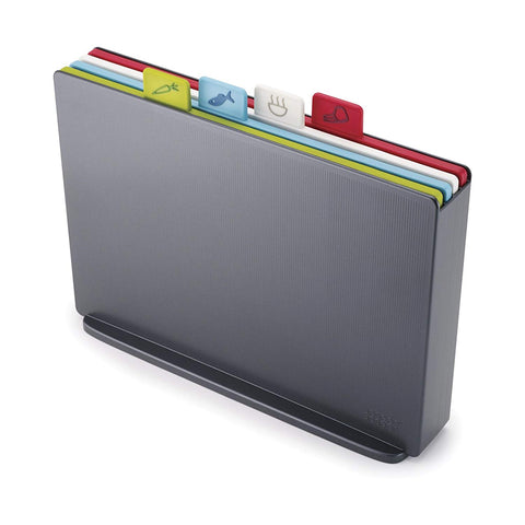 Joseph Joseph 60135 Index Plastic Cutting Board Set with Storage Case Color-Coded Dishwasher-Safe Non-Slip, Large, Graphite