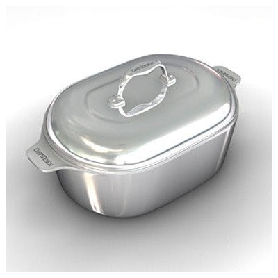"Gourmet 16.5"" Heavy Cast Aluminum Covered Oval Roaster with Non-Stick Interior"
