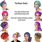 Safari Jersey Turban, Head Wrap, Alopecia Scarf, Chemo Hat & Scarf Set - Sacko Boutique  - 2
