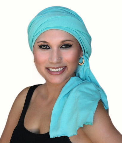 Aqua Teal Turban Head Wrap (1 Piece) - Sacko Boutique  - 1