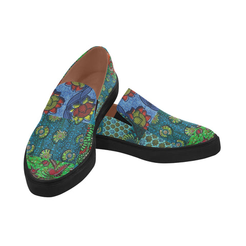 Africa Flower Pointed Toe Slip-on Women's Shoes