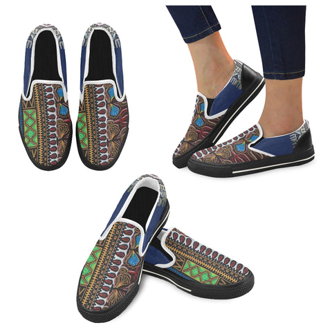 Africa Texture Men's Unusual Slip-on Canvas Shoes