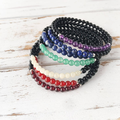 7 Chakra (4mm) Bracelet Set - Seven Bracelets - Sterling Silver or Gold Filled Spacer