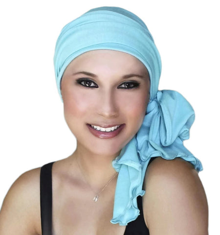 Aqua Jersey Turban, Head Wrap, Alopecia Scarf, Chemo Hat & Scarf Set - Sacko Boutique  - 1