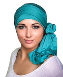 Emerald Teal Jersey Turban, Head Wrap, Alopecia Scarf, Chemo Hat and Scarf Set - Sacko Boutique  - 1