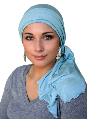 Dusk Blue Jersey Turban, Head Wrap, Alopecia Scarf, Chemo Hat and Scarf Set - Sacko Boutique  - 1