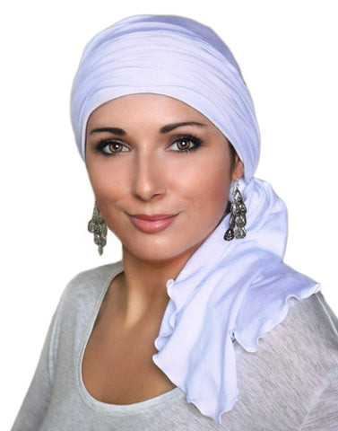 White Jersey Turban, Head Wrap, Alopecia Scarf, Chemo Hat and Scarf Set - Sacko Boutique  - 1