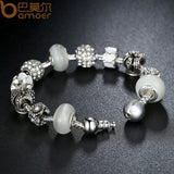 3 colour High Quality Silver Color Charm Bracelet & Pink Murano Beads CZ Bracelets