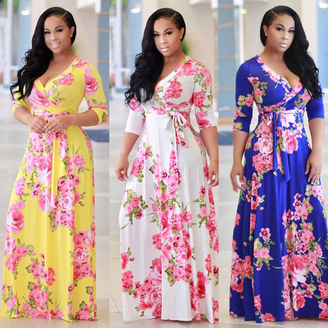 2017 long  women v neck print maxi dress