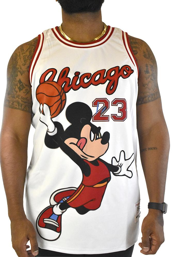 MIKEY MOUSE CHICAGO WHITE BASKETBALL JERSEY