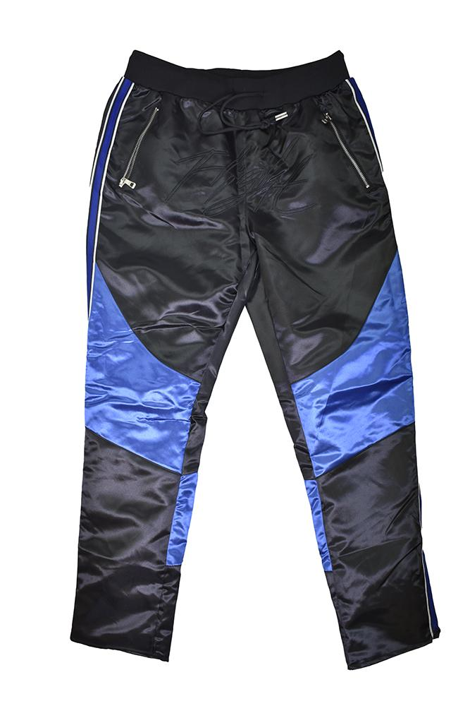 BLACK/BLUE FLIGHT SATIN PANTS