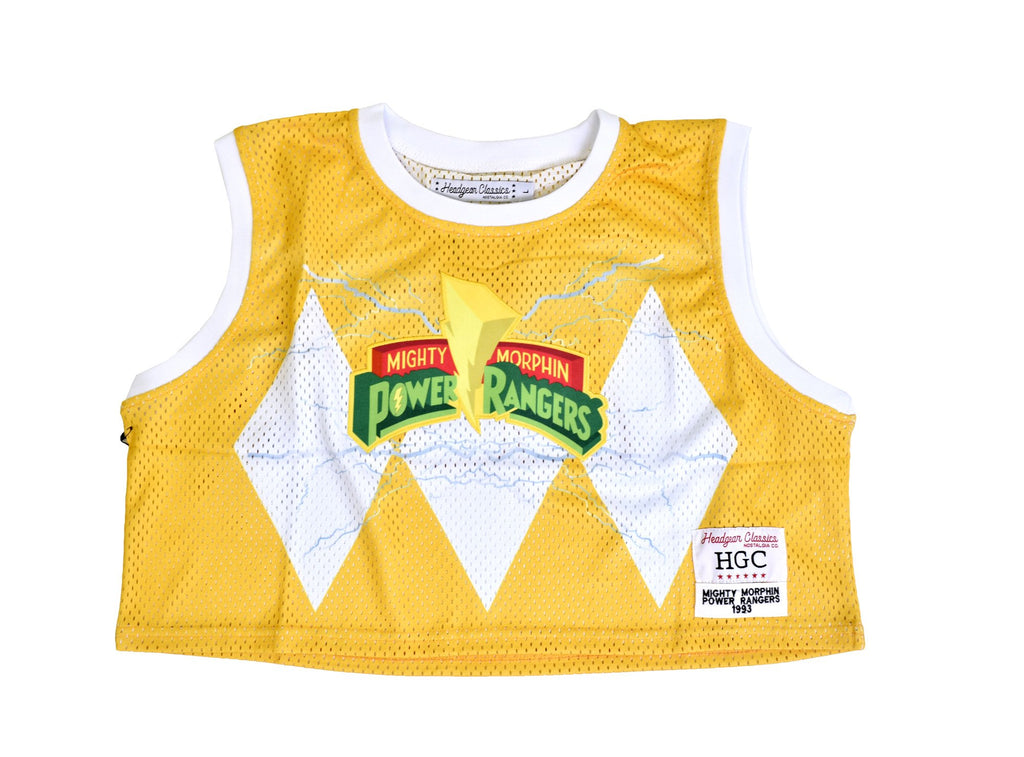 MIGHTY MORPHIN YELLOW RANGER CROPTOP BASKETBALL JERSEY