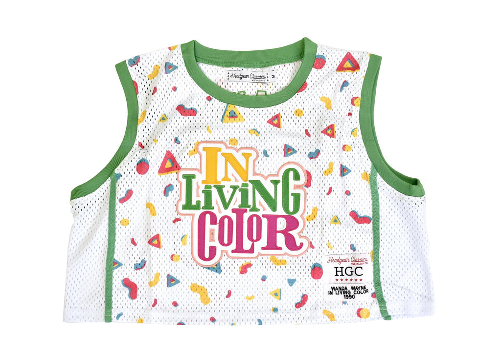 IN LIVING COLOR WHITE CROPTOP BASKETBALL JERSEY
