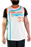 Flint Tropics Jackie Moon White Basketball Jersey